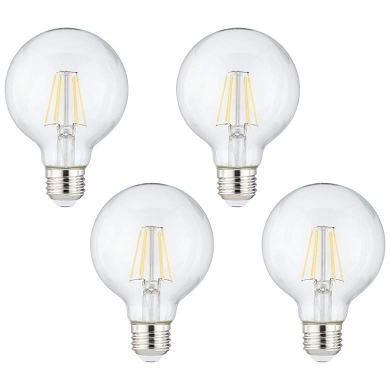 60W Equivalent Clear 8 Watt LED Dimmable Standard G25 4-Pack