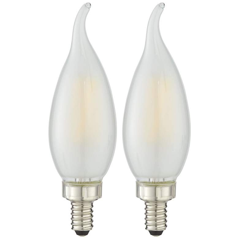 40W Equivalent Milky Glass Flame Tip 4W LED Candelabra Bulbs