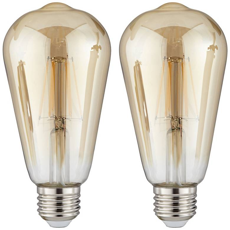 60W Equivalent Amber 7W LED Dimmable Standard Edison 2-Pack