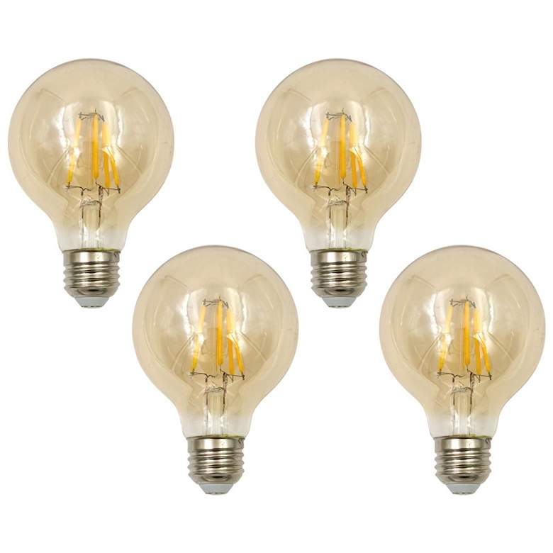 60W Equivalent Tesler Amber 8W LED Dimmable Standard 4-Pack