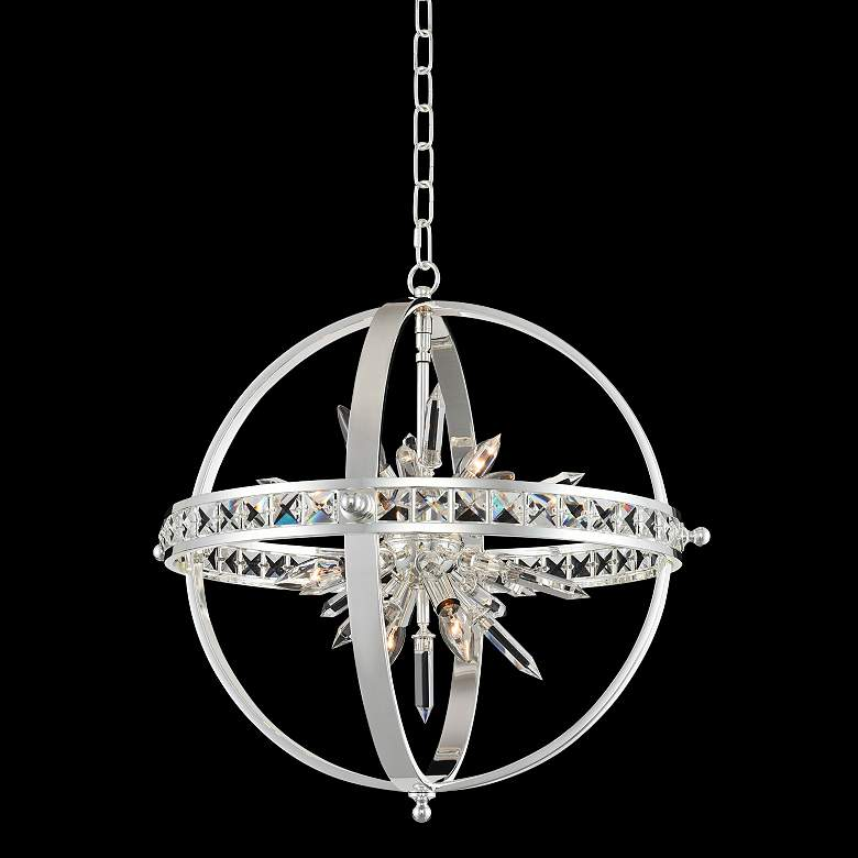 """Allegri Angelo 23"""" Wide Polished Silver Crystal Orb Pendant"""