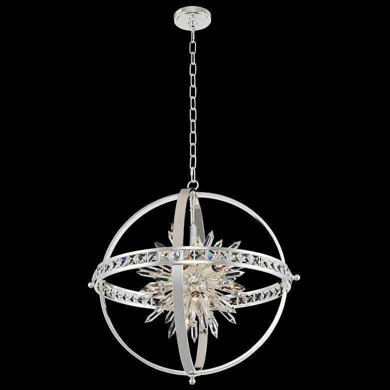 """Allegri Angelo 26"""" Wide Polished Silver Crystal Orb Pendant"""