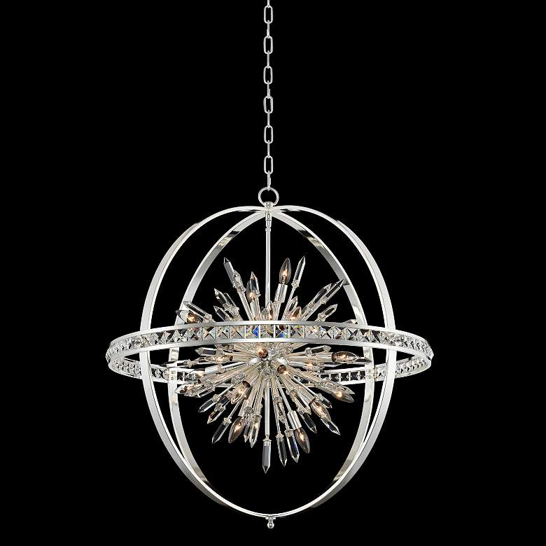 """Allegri Angelo 36"""" Wide Polished Silver Crystal Orb Pendant"""