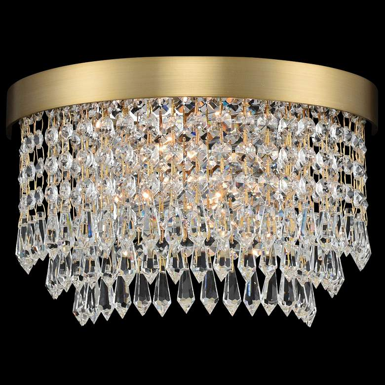 "Allegri Tavo 6"" High Winter Brass Crystal Wall Sconce"