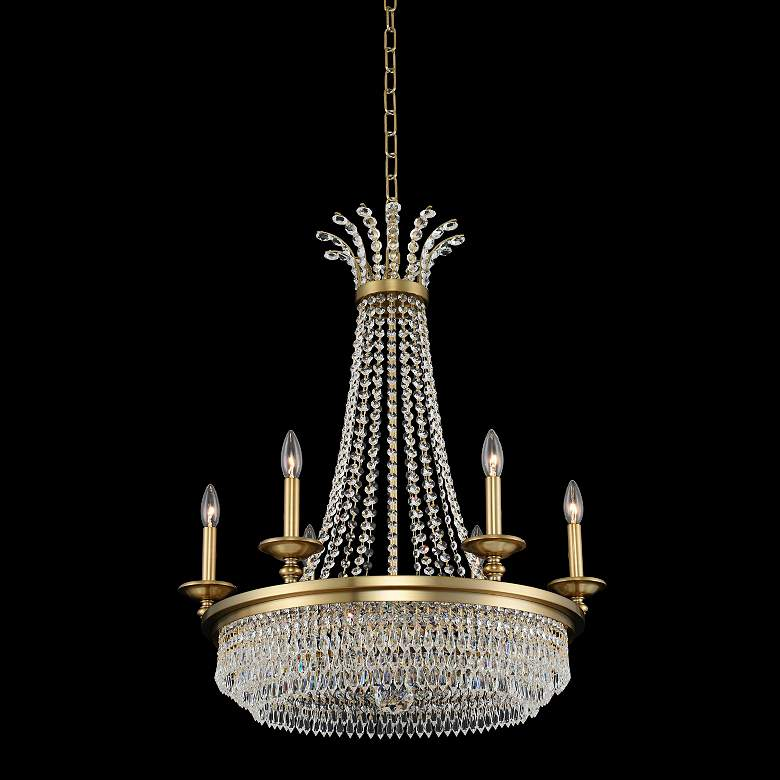 "Allegri Tavo 26""W Winter Brass 6-Light Crystal Chandelier"