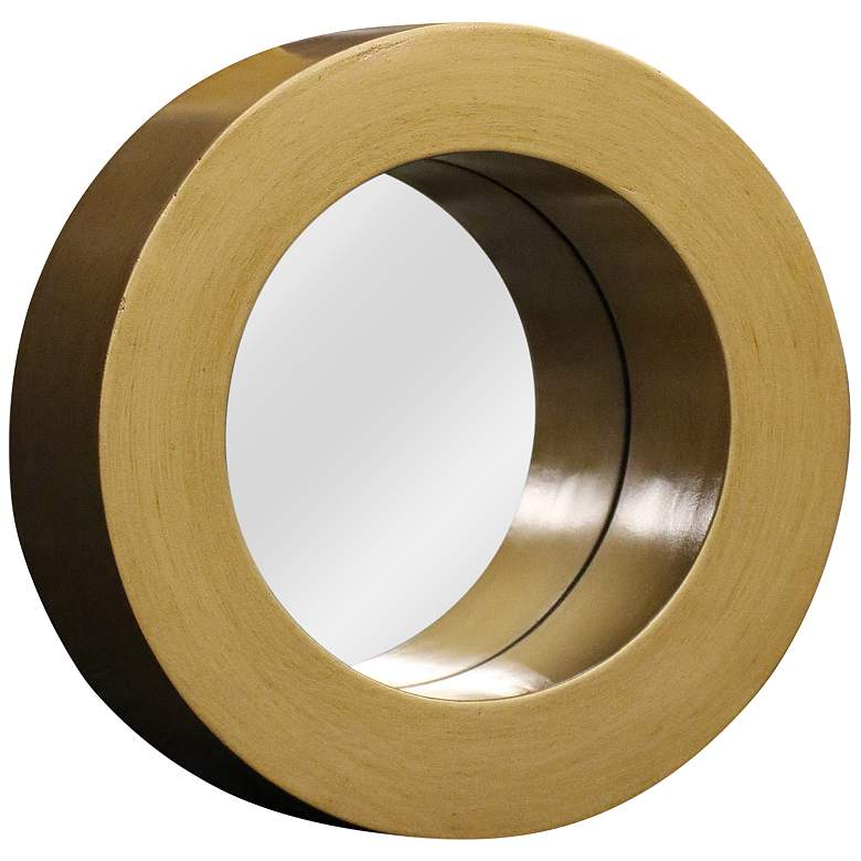 "Cane Gold 10 1/4"" Round Wood Wall Mirror"