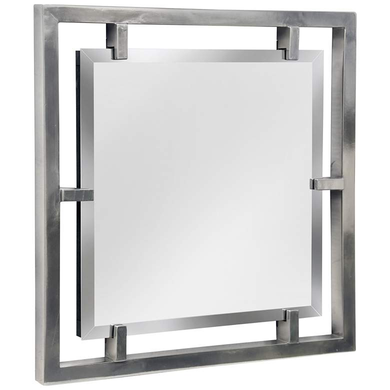 "Henry Plated Silver 25"" Square Wall Mirror"