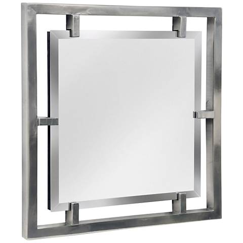 """Henry Plated Silver 25"""" Square Wall Mirror"""
