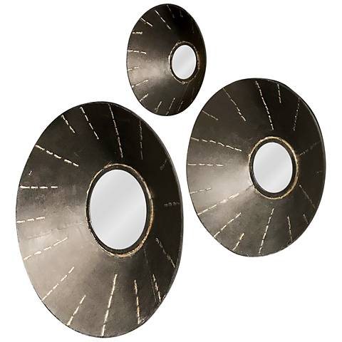 """Ladue Gray and Bronze 20"""" Round Wall Mirrors Set of 3"""