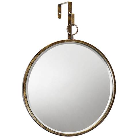 "Haile Antique Gold 17 1/4"" x 20"" Round Wall Mirror"