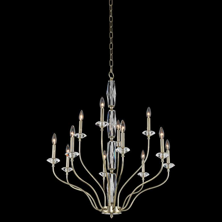 "Allegri Savia 31""W Champagne Gold 12-Light 2-Tier Chandelier"