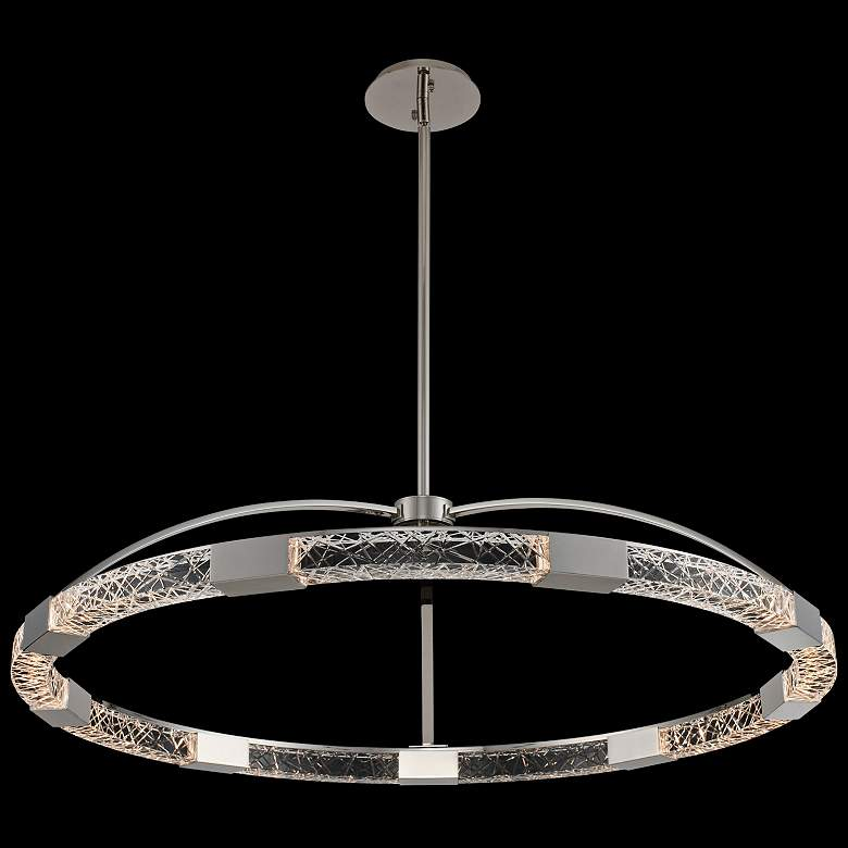 "Allegri Athena 43""W Polish Nickel LED Crystal Ring Pendant"