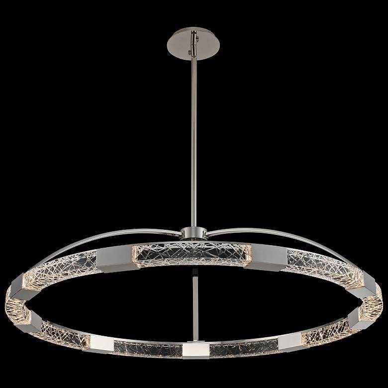 "Allegri Athena 43""W Polish Nickel LED Crystal Ring Pendant"