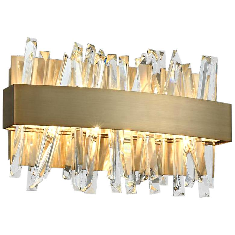 """Allegri Glacier 12""""W Champagne Gold LED Crystal Bath Light"""