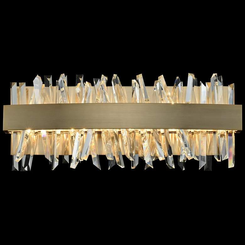 """Allegri Glacier 18""""W Champagne Gold LED Crystal Bath Light"""