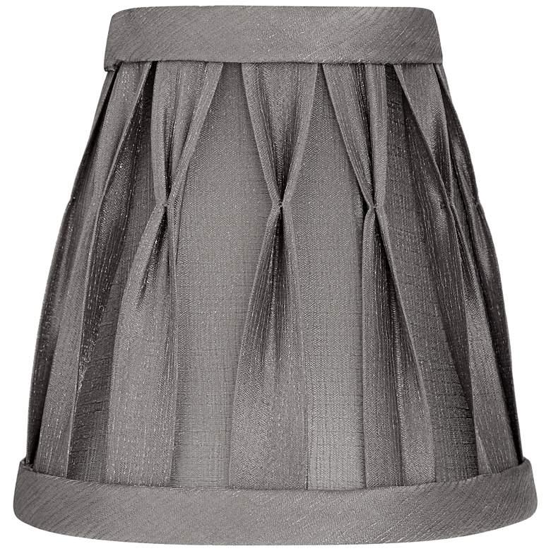 Shiny Gray Pinch Box Pleat Empire Lamp Shade 3x5x5 (Clip-On)