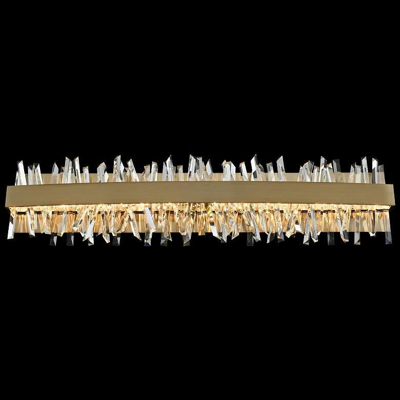 """Allegri Glacier 32""""W Champagne Gold LED Crystal Bath Light"""
