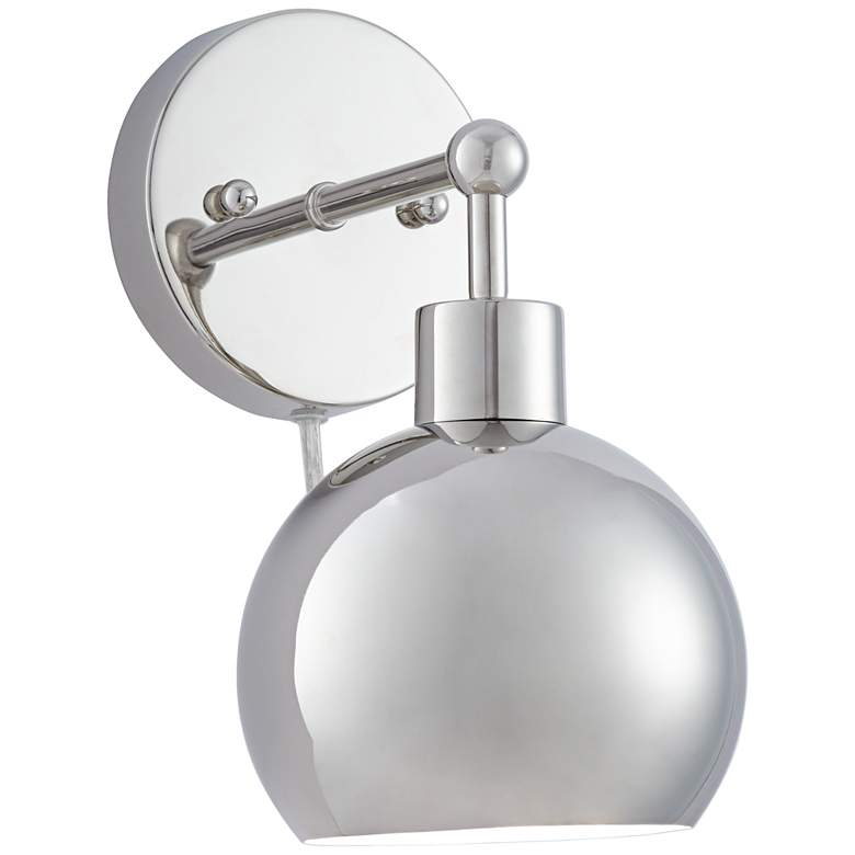 Possini Euro Cory Polished Nickel Orb Down Light Wall Lamp