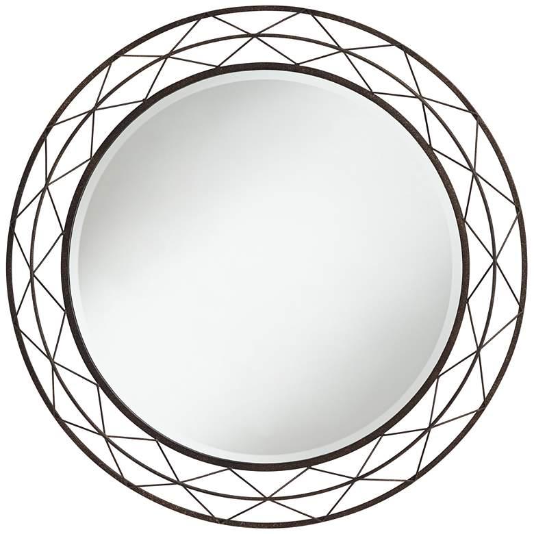"Avril Speckled Bronze 36"" Round Metal Wire Wall Mirror"