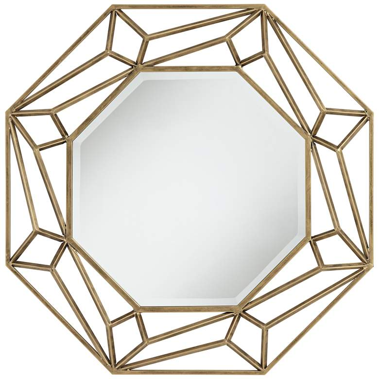 "Jerica Gold 35 1/2"" Octagonal Geometric Wall Mirror"
