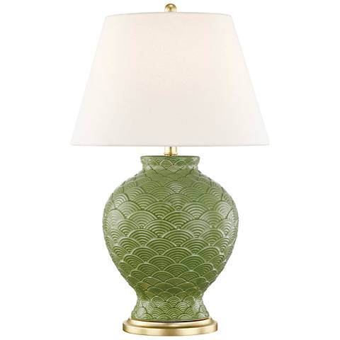 Mitzi Demi Sage Green Porcelain Table Lamp with Linen Shade