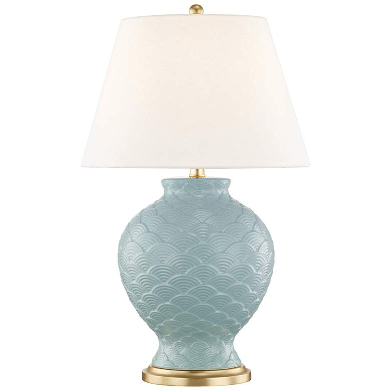 Mitzi Demi Surf Blue Porcelain Table Lamp with Linen Shade