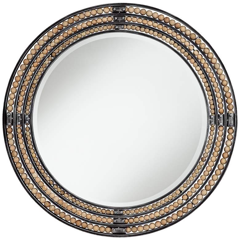 """Scott Distressed Black 34"""" Round Sphere Wall Mirror"""