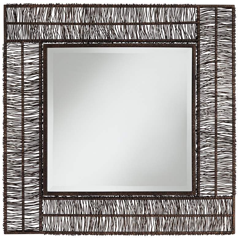 """Berlin Brown 30 3/4"""" Square Wrapped Wire Wall Mirror"""
