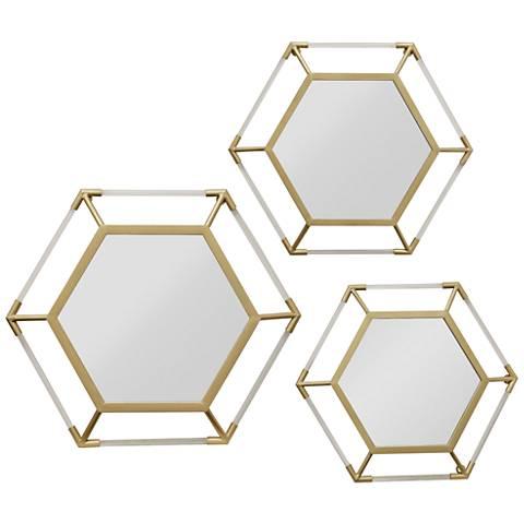 """Storer Gold 23 1/2"""" x 23 1/2"""" Hexagon Wall Mirrors Set of 3"""