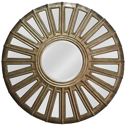 "Convex Aged Silver 24"" Round Wall Mirror"