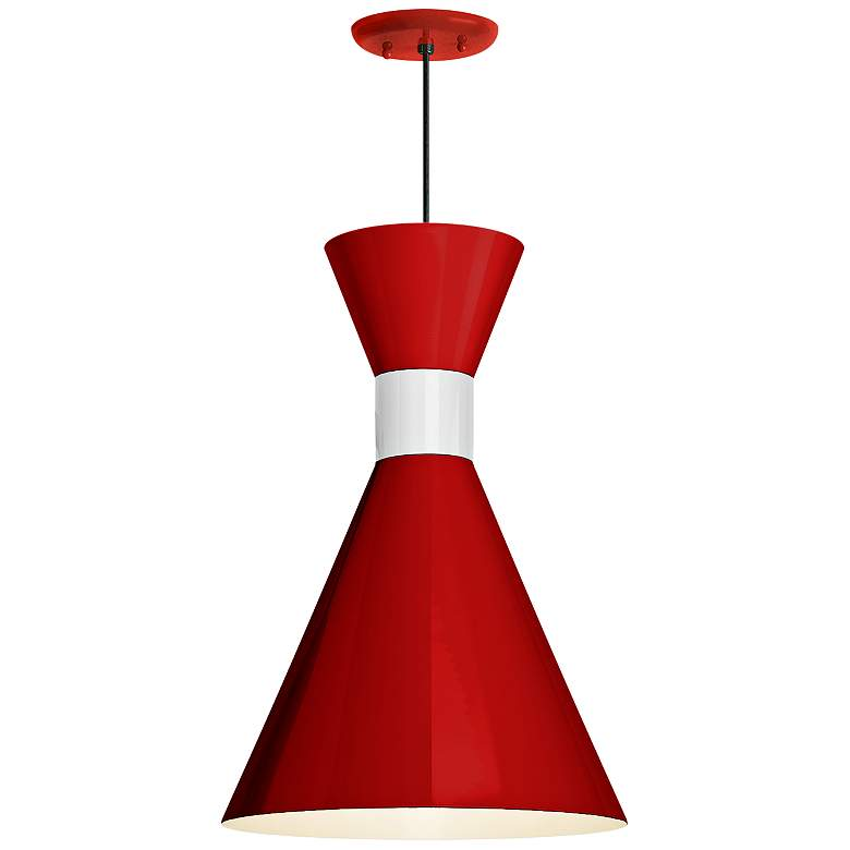 """RLM Mid-Century 15 1/4""""H White and Red Outdoor Hanging Light"""