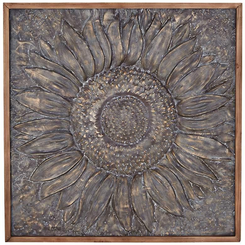 """Sunflower 39"""" Square Sunburst Metal Framed Wall Art"""