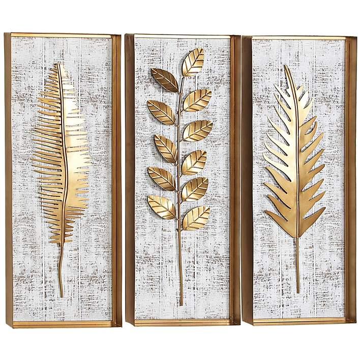 Natural 32 H Rectangular Wood And Metal 3 Piece Wall Art Set 61e08 Lamps Plus