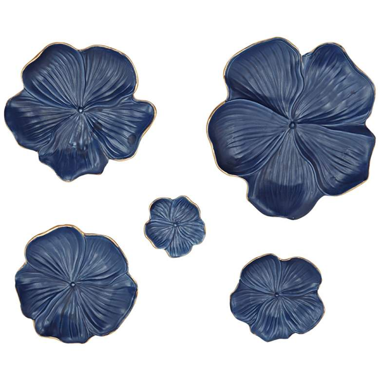 Natural Blue Ceramic Floral 5-Piece Wall Tray Set