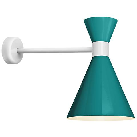 """RLM Mid-Century 15 1/4""""H White and Teal Outdoor Wall Light"""