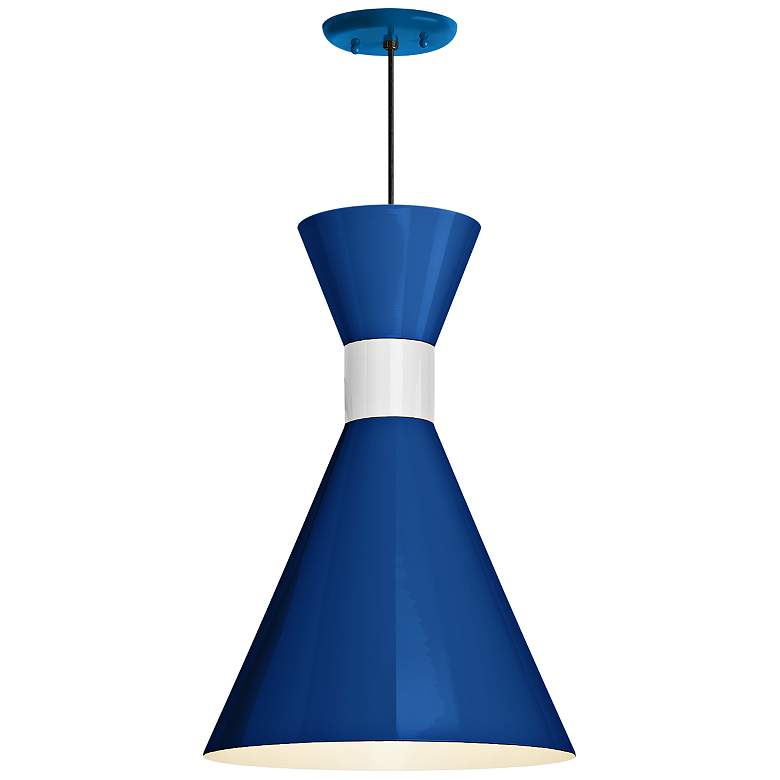 "RLM Mid-Century 15 1/4"" High Blue Outdoor Hanging Light"