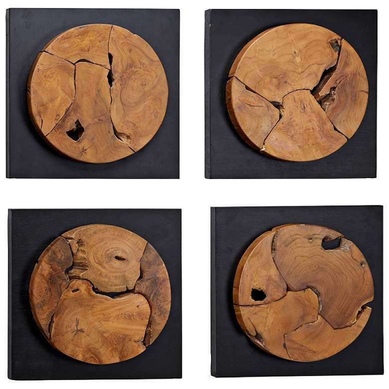 "Circular Abstract Live Edge 16"" Square 4-Piece Wall Art Set"