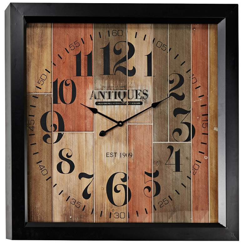 """Antiquity Multi-Color Wood 37"""" Square Oversized Wall Clock"""