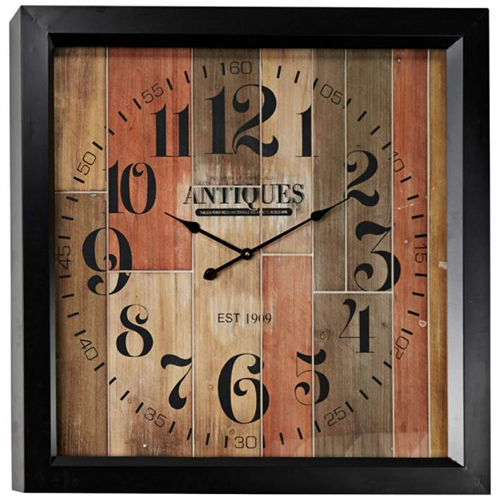 Antiquity Multi Color Wood 37 Square Oversized Wall Clock 61e35 Lamps Plus