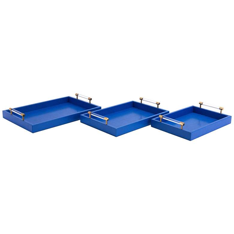 Zuo Gela Blue Faux Leather Trays Set of 3