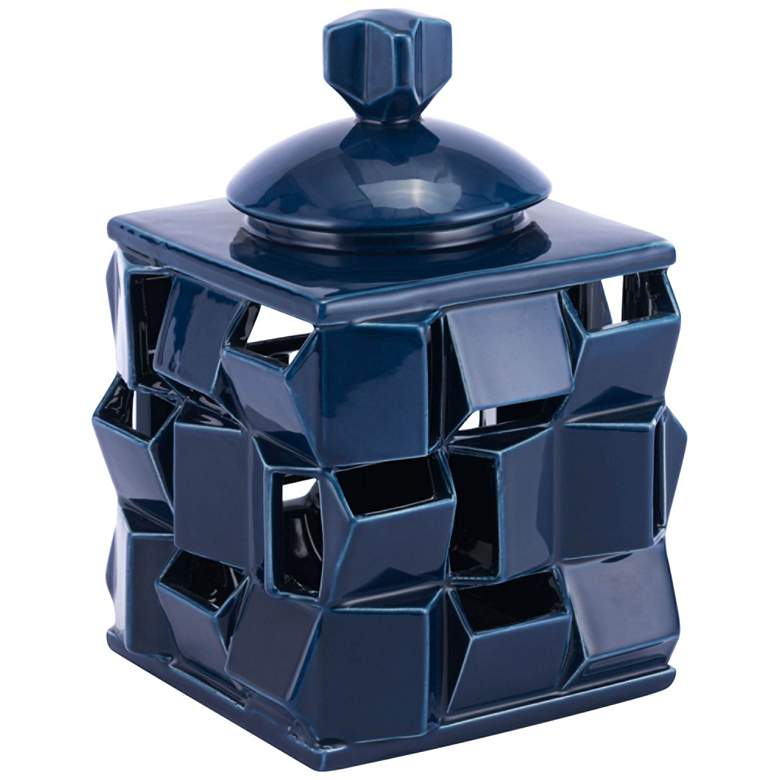 "Zuo Babel Blue 10 1/2"" High Square Dolomite Jar"