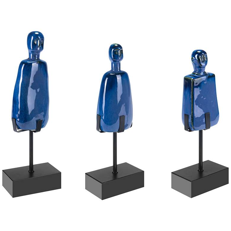 Zuo Salar Blue Ceramic Figurines Set of 3