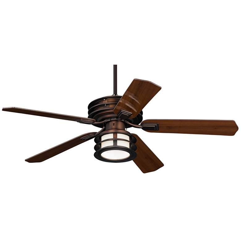 "52"" Casa Vieja Mission II Bronze Outdoor LED Ceiling Fan"