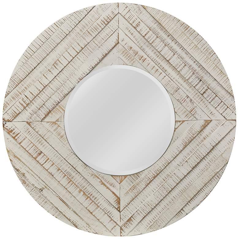 "Whitewash Natural Wood 36"" Round Wall Mirror"