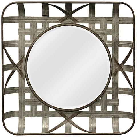 "Grid Silver Iron 36"" Square Wall Mirror"