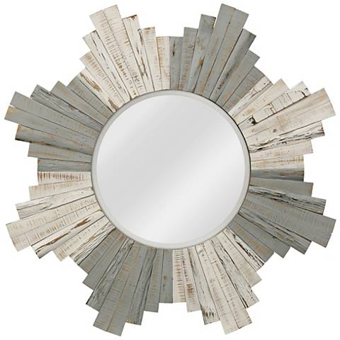 "White-Washed Gray Natural Wood 36"" Sunburst Wall Mirror"