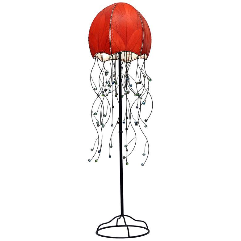 Eangee Jellyfish Red Cocoa Leaves Floor Lamp