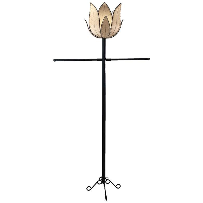 Eangee Lotus Natural Cocoa Leaves LED Outdoor Floor Lamp