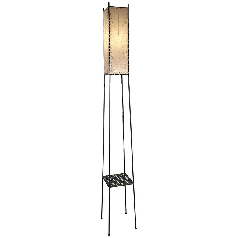 Square Shelf Giant Cocoa Leaves LED Outdoor Floor Lamp