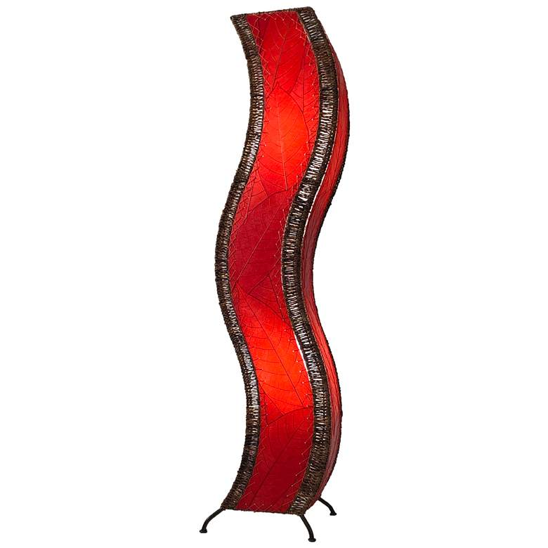 Eangee Wave Red Cocoa Leaves Large Tower Floor Lamp